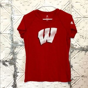 Wisconsin college red adidas workout tee